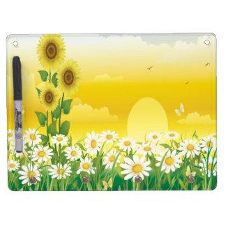Sonnenblumen, weiße Blumen, Sun, Trockenlöschtafel Mit Schlüsselanhängern