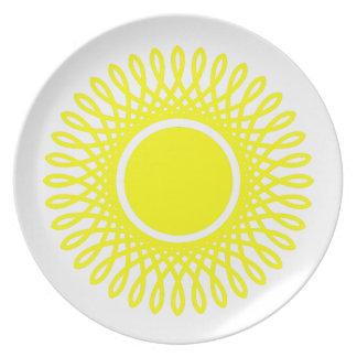 Sonnenschein-Gelb birst auf Weiß Melaminteller