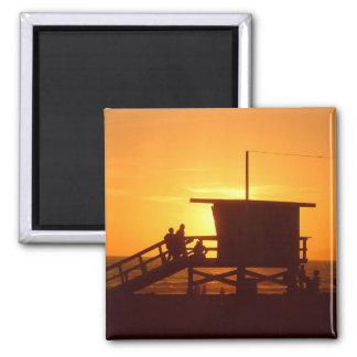 Sonnenuntergang am Santa Monica Quadratischer Magnet
