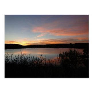 Sonnenuntergang am See-Scott-Staats-Park - Kansas Postkarte