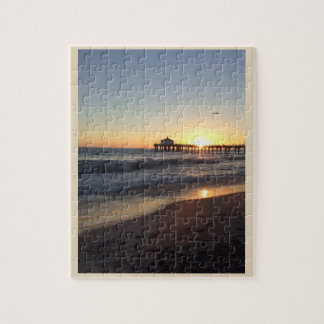 Sonnenuntergang an Santa Monica Pier Puzzle