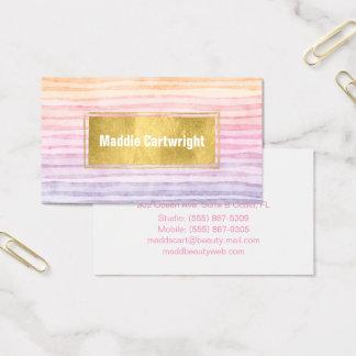 Sonnenuntergang-Aquarell Stripes Visitenkarte
