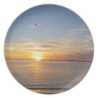 Sonnenuntergang auf Danksagung Flache Teller