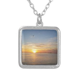 Sonnenuntergang auf Danksagung Halskette Mit Quadratischem Anhänger