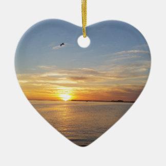 Sonnenuntergang auf Danksagung Keramik Herz-Ornament