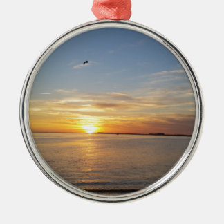 Sonnenuntergang auf Danksagung Rundes Silberfarbenes Ornament