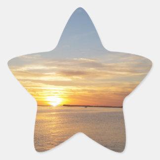 Sonnenuntergang auf Danksagung Stern Aufkleber