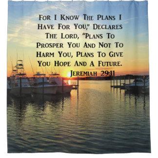 SONNENUNTERGANG AUF DEM SEE-JEREMIAS-29:11 DUSCHVORHANG