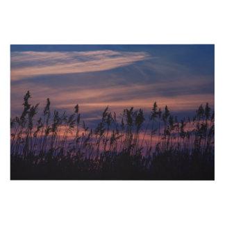 Sonnenuntergang - blauer Himmel Holzdrucke