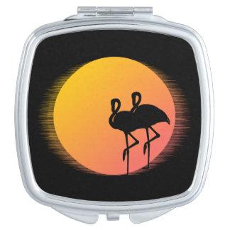 Sonnenuntergang-Flamingos Schminkspiegel