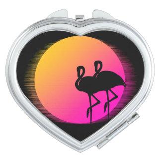 Sonnenuntergang-Flamingos Taschenspiegel