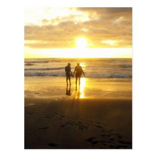Sonnenuntergang-Foto am Strand Postkarte