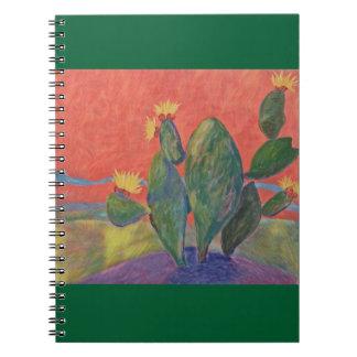 Sonnenuntergang-Kaktus Notizblock