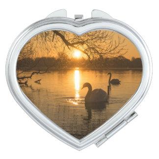 Sonnenuntergang mit Schwan Taschenspiegel