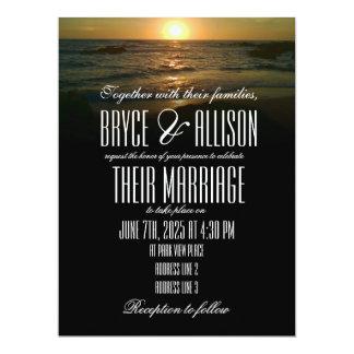 Sonnenuntergang-Strand-Hochzeits-Einladung Karte