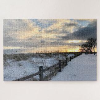 Sonnenuntergang-Strand-Puzzlespiel Puzzle