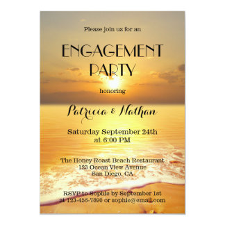 Sonnenuntergang-Strand-Verlobungs-Party Einladung