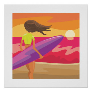 Sonnenuntergang-Surfer Poster