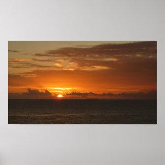 Sonnenuntergang tropischen orange Meerblick am Poster