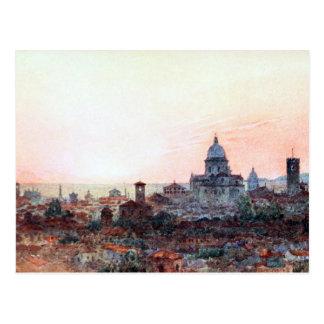 Sonnenuntergang über Brescia, Italien Postkarte