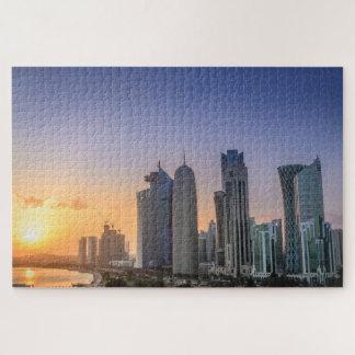 Sonnenuntergang über der Stadt von Doha, Qatar Puzzle