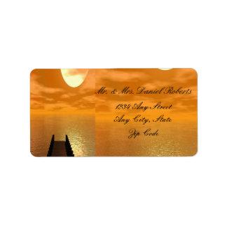Sonnenuntergang über einer Dock-Hochzeit Adress Aufkleber
