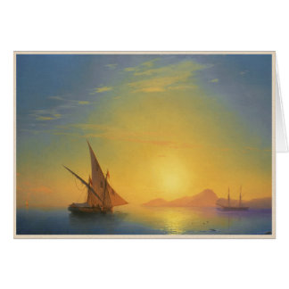 Sonnenuntergang über Meerblickwasser Ischia-Iwans Karte