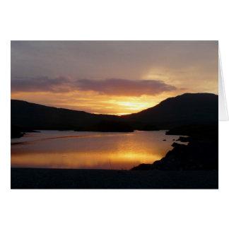 Sonnenuntergang über See, Landkreis Galway, Irland Grußkarte