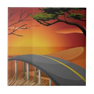 Sonnenuntergang und Straße Fliese