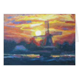 Sonnenuntergang-Windmühlen-Malerei Karte