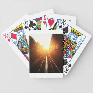 Sonnenuntergang-Zug-Bahnen Pokerkarten