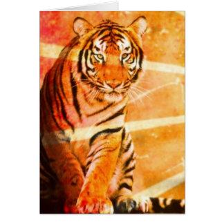 Sonnestrahl Tiger des wilden Tieres des Grunge Karte