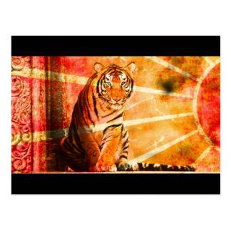 Sonnestrahl Tiger des wilden Tieres des Grunge Postkarte