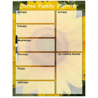 Sonnige Sonnenblume-Familien-wöchentlicher Planer Trockenlöschtafel