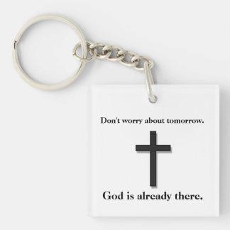 Sorgen Sie sich nicht Keychain w/Black Kreuz Schlüsselanhänger