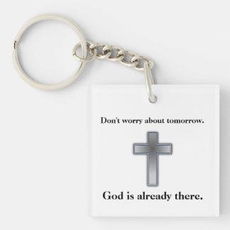Sorgen Sie sich nicht Keychain w/Blue Kreuz Schlüsselanhänger