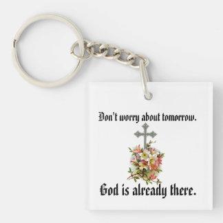 Sorgen Sie sich nicht Keychain w/Pink Blumen-Kreuz Schlüsselanhänger