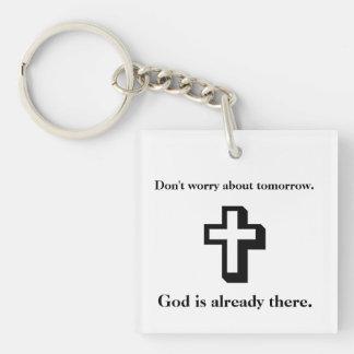 Sorgen Sie sich nicht Keychain w/Shadow Kreuz Schlüsselanhänger