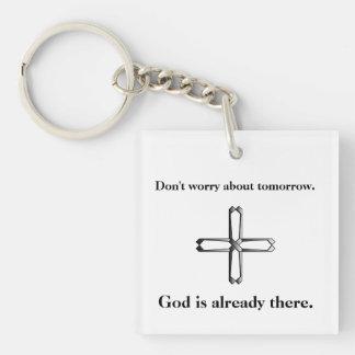 Sorgen Sie sich nicht Keychain w/Steel Kreuz Schlüsselanhänger
