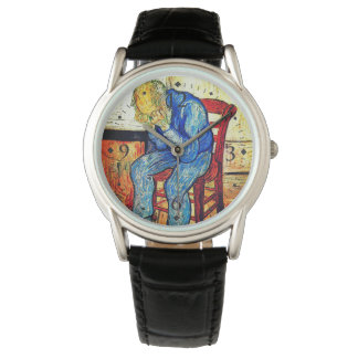 Sorrowing alter Mann durch Van Gogh Uhr