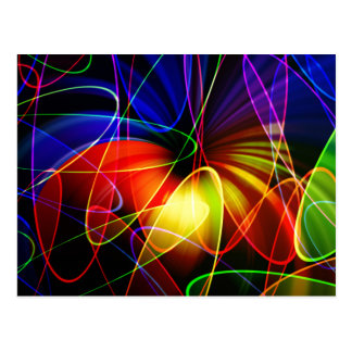 Soundwaves Neon-Fraktal Postkarte