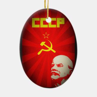 sowjetische kommunistische Propaganda Vintages f Ovales Keramik Ornament
