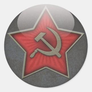 Sowjetisches Stern-Hammer und Sichel Runder Aufkleber