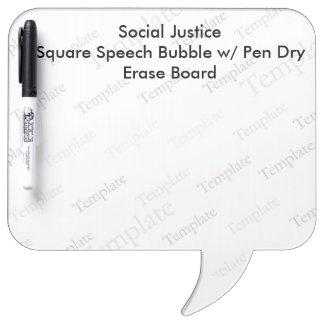 Soziale Gerechtigkeit quadratisches SpeechBubble Whiteboards
