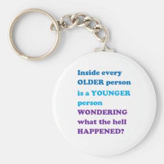 Sozialleben der JUNGEN ALTEN Standard Runder Schlüsselanhänger
