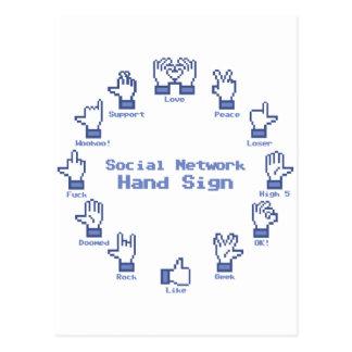 Sozialnetz-Handzeichen Postkarte