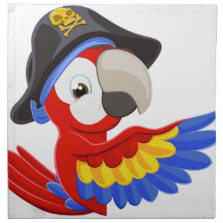 Spähen des Cartoon-Piraten-Papageien Stoffserviette