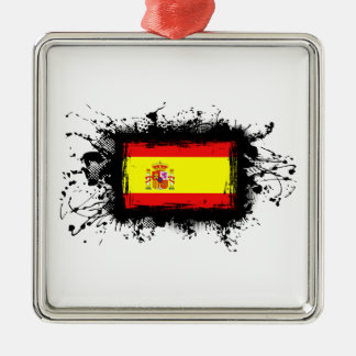 Spanien-Flagge Quadratisches Silberfarbenes Ornament
