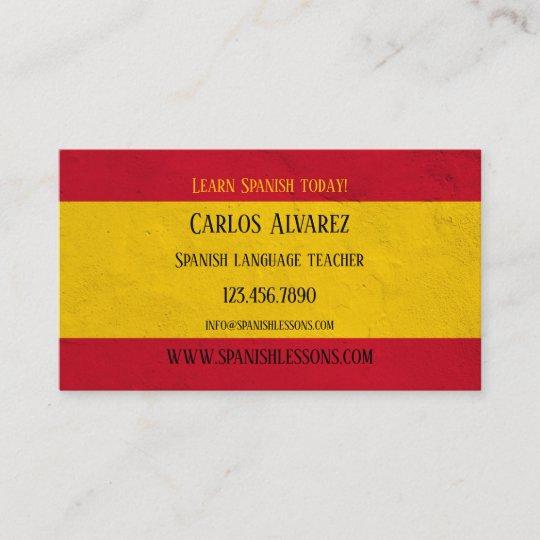 Spanische Sprachlehrer Visitenkarte Visitenkarte Zazzle At