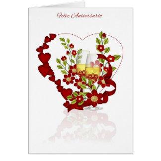 Spanischer Hochzeits-Jahrestag mit Grußkarte